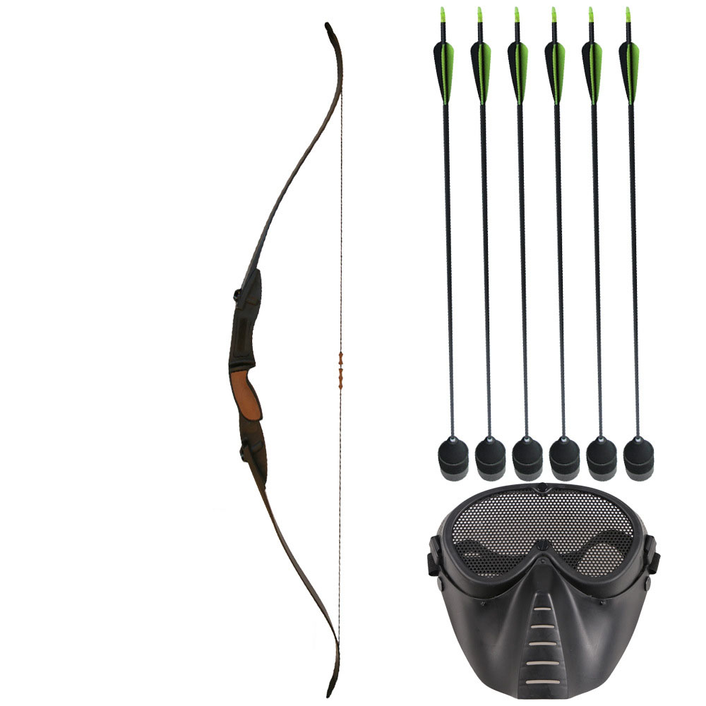 25LBS Archery Bow Set for CS War Game for Left Right Hand Archery Recurve Bow with Mask Arrows for Shooting Hunting Games
