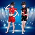 Детские Мальчики и Девушки Танцуют Одежда Современного Танца Джаз Костюм Кожаная Куртка и Шорты Костюмы/Набор Износостойкость