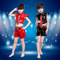 Baby Boys and Girls Dance Clothes Modern Dancing Jazz Costume Leather Jacket and Short Pants Suits /Set Performance Wear