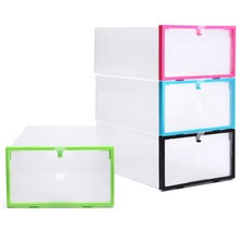 4 Colors Plastic Clear Shoes Storage Box Foldable Sundries Case Bin Stackable Household Storage Tools Accessories Organizer