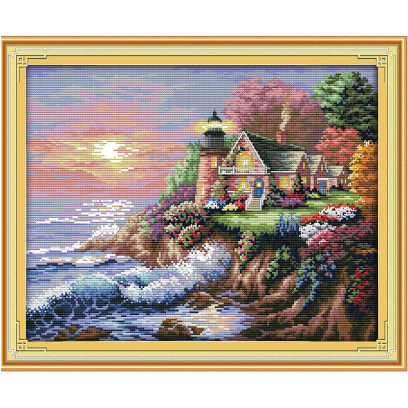 The Seaside Lighthouse Scenery Paintings Counted Printed On Canvas 14CT 11CT DMS Cross Stitch Embroider Kits DIY Needlework Sets
