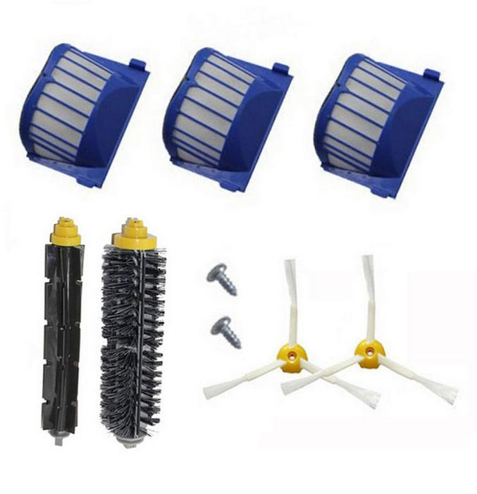 AeroVac dust Filter + side brush + screw kit for iRobot Roomba 600 Series 595 620 630 650 660 replacement ntnt replacement brush filter kit for irobot roomba aerovac 600 series 620 630 650 660
