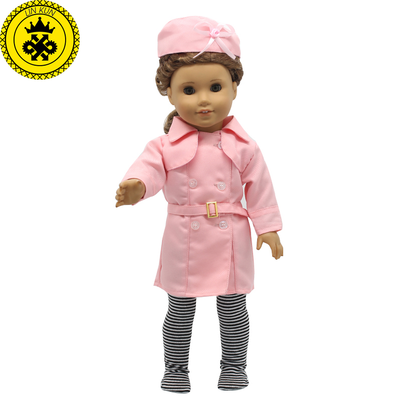 American Girl Doll Accessories Pink Stewardess Uniform Suit Doll Clothes for 18 Inch Dolls MG-203 american girl doll clothes superman and spider man cosplay costume doll clothes for 18 inch dolls baby doll accessories d 3