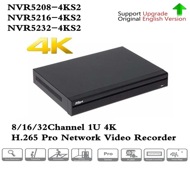 Original English version DH Brand 4K Video Surveillance NVR NVR5208 4KS2 NVR5216 4KS2 NVR5232 4KS2 8/16/32 Channels H.265|Surveillance Video Recorder| |  - title=
