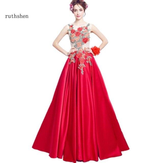 99e88bbb64 Ruthshen 2018 vestidos De noche largo bordado apliques De flores rojo  hermosa fiesta