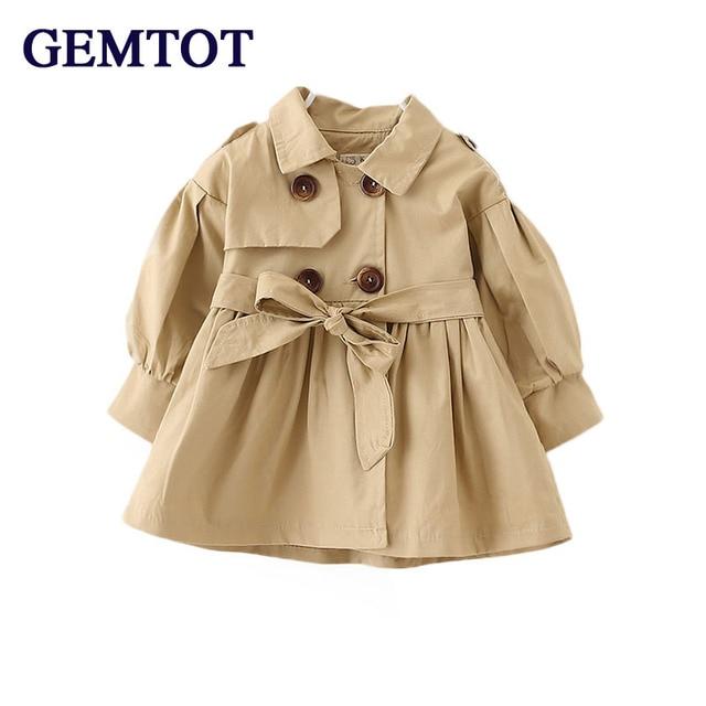 51e67caa0 GEMTOT Spring Autumn England cotton baby girl windbreaker Solid ...