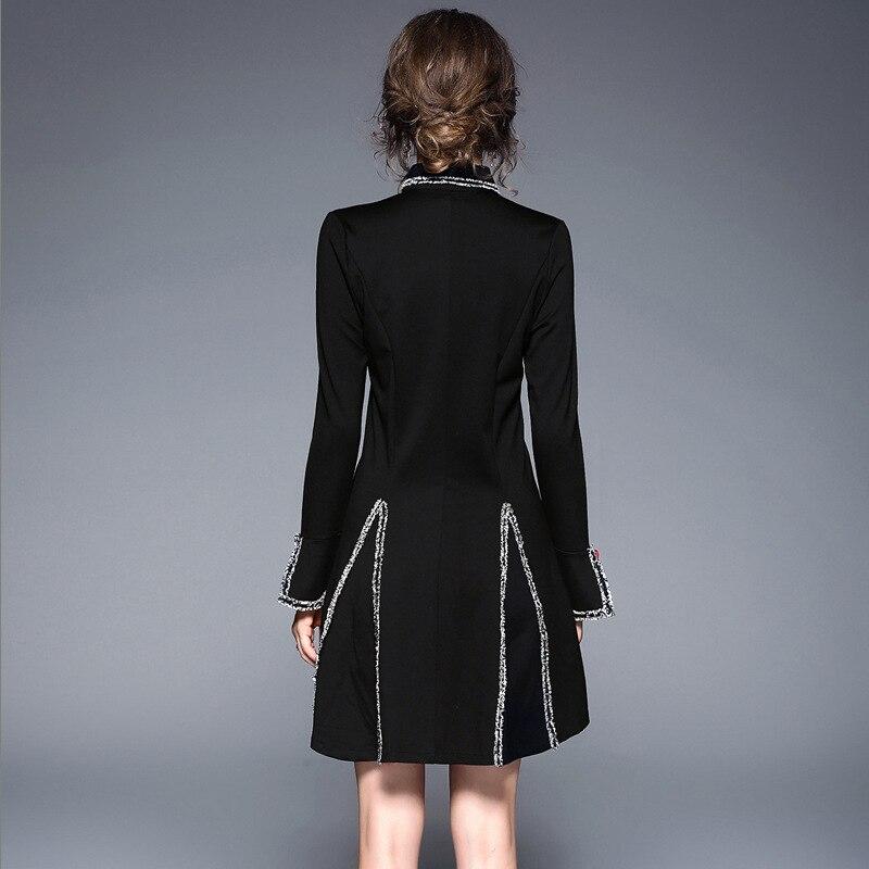 Tempérament As Élégante breasted Slim De Couture Noir A ligne Décontracté Lady Taille Single À Manches Style Femme Longues Shown Robe UOwFw