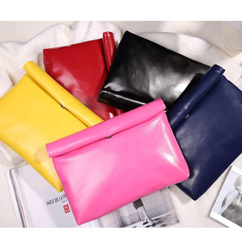 New Low-priced casual fashion simple candy color pu leather envelope bag clutch handbags folding gift party purse 8 colors image
