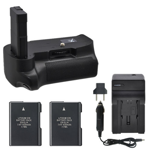 MeiKe MK-D3100 MK D3100 Vertical Battery Grip for Nikon D3100 D3200 D3300 + 2 EN-EL14 Batteries + Charger meike mk dr750 vertical battery grip pack holder for nikon d750 rechargeable li ion battery for nikon en el15 cleaning kit