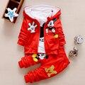 2017 Otoño Ropa de Niños Sets Niños Niñas Ropa de Navidad de Mickey Minnie Embroma la Ropa Coat + t-shirt + Pants 3 UNIDS Ropa Conjuntos