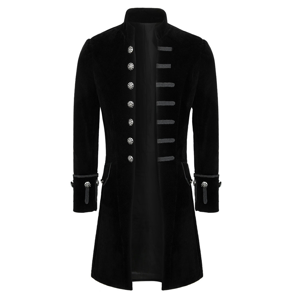 Mens Steampunk Victorian Long Coat Velvet/Brocade Gothic Frock Coat Jacket Halloween Mardi Gras Dress up Aristocrat Elegant Coat