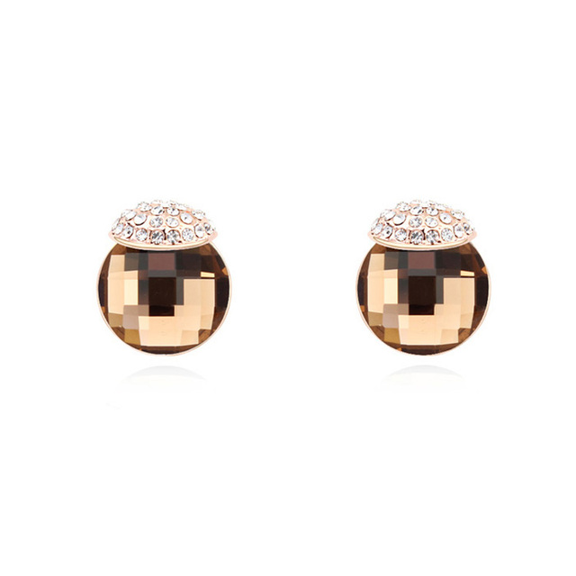 4b8e023a0 Austrian Crystal Rock Earrings Small Round Stone Stud Earrings Women  Piercing Ear Jewelry Brincos 4 Colors Simple Fashion Gifts