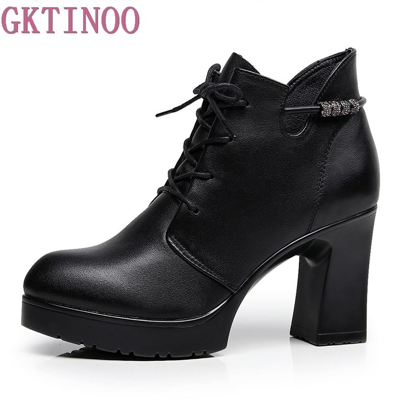GKTINOO Ultra High Heels Shoes Woman Female Round Toe Martin Boots Thick Heel Platform Women Shoes Ankle Boots Plus Size 34-43 enmayer bling platform shoes woman round toe ankle boots for women high heels zippers white shoes plus size 34 47 winter boots