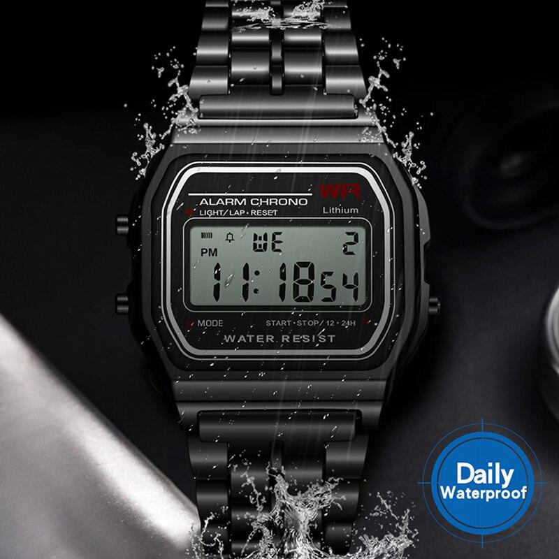 Uhren Digitale Uhren Trendmarkierung Klassische Goldene Gold Uhr Frauen Männer Luxus Led Digital Uhren Männer Stahl Multifunktionale Alarm Stoppuhr Armbanduhr Wasserdicht