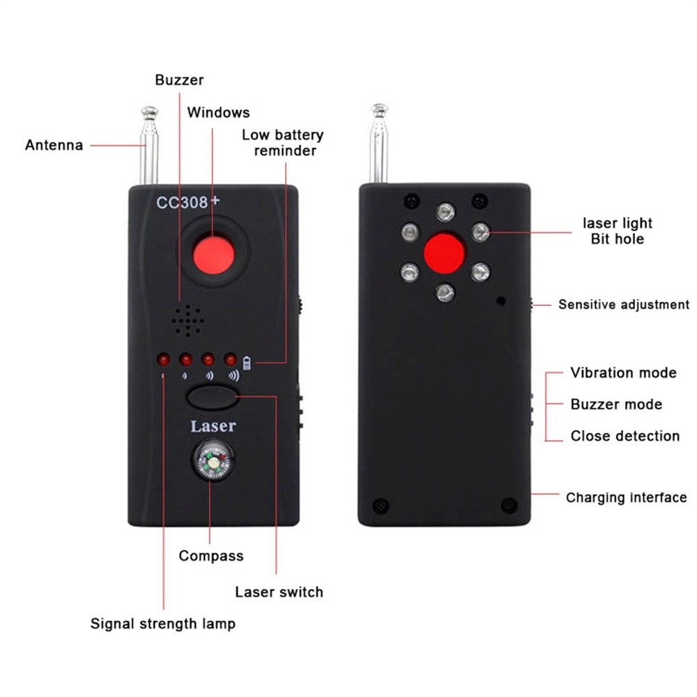 Multi Function Wireless Camera Lens Signal Detector CC308 Radio Wave Signal Detect Camera Full range WiFi RF GSM Device Finder in Anti Candid Camera Detector from Security Protection