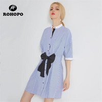 ROHOPO Female Dress Shirt Women Short Sleeve Striped Casual Dress Cotton Fabric Woman O neck Straight Dress Preppy Girl Shirt