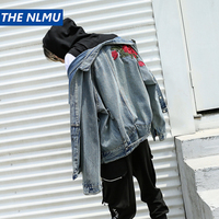 Plus Size Hip Hop 2018 Autumn Ripped Embroidery Denim Jacket Mens Streetwear Destroyed Outerwear Hole Coats Street Big WS123