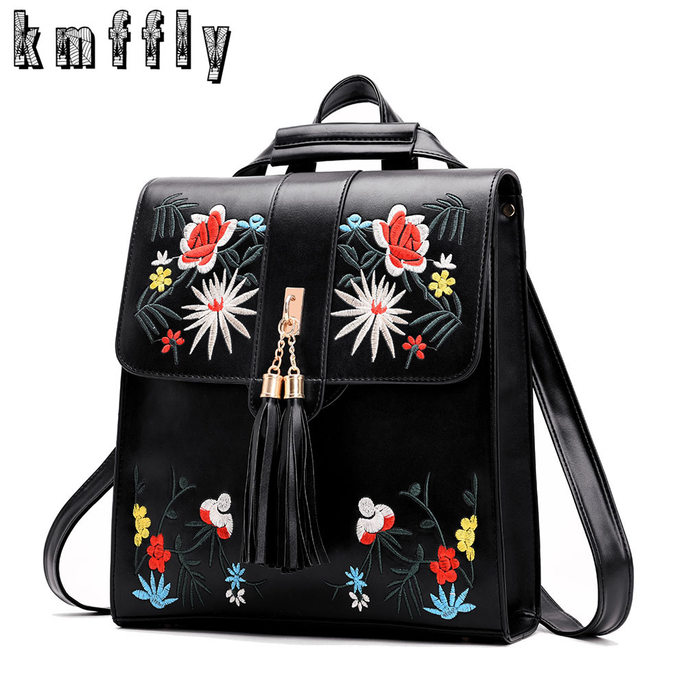 KMFFLY Brand Women PU Leather Embroidery Backpack School Bags For Teenage Girls Sac A Dos Femme Black Shoulder Bags Mochilas new printing pu leather backpack women shoulder rucksack university bags for teenage girls designer brand korean femme
