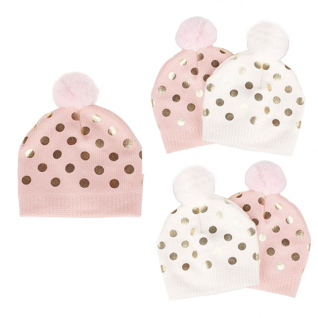 95aa94f11fe Cute Baby Polka Dot Knit Hat Soft Cotton Newborn Baby Beanie Warm Winter Hat  For Baby Girls Boys Knitted Kids Hats New
