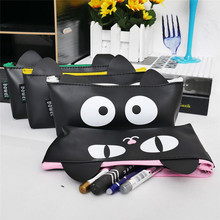 1Pc Cartoon Cat PU Waterproof Pencil Case For Girl Totoro Pen Bag Stationery School Supplies Make Up Box Free Shipping