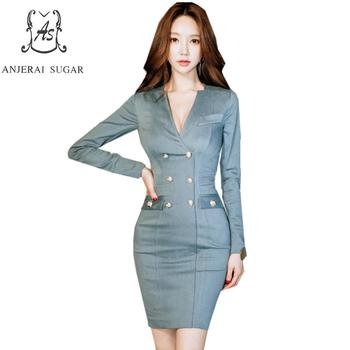 Autumn Dress women vestidos blue long sleeve sexy V neck slim Double-breasted OL office package hip party Bodycon short dresses short dresses office wear