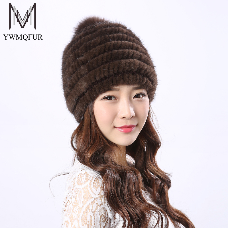 YWMQFUR Real Mink Fur Hat For Women Winter Knitted Mink Fur Beanies Cap With Fox Fur Pom Poms Brand New Thick Female Cap H22 real mink fur hat for women winter knitted mink fur beanies cap fox fur pom poms brand new thick female cap