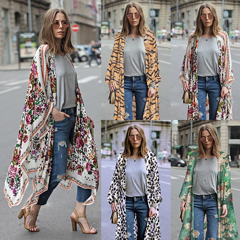 2019 Summer Long Kimono Plus Size 3XL 5XL Cover Ups Women Chiffon Kimono Cardigan Floral Leopard Print Asymmetric Boho Outerwear