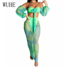 WUHE Summer Hollow Out Wrapped Chest Lantern Sleeve Two-piece Party Dress Sexy Off Shoulder See Through Grid Print Maxi Dresses
