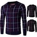 2016 Новая Мода Зимний мужской свитер утолщение теплый вертикальная плед свитер джемпер Y264