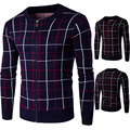 2016 New Fashion Winter men 's sweater thickening warm vertical plaid cardigan sweater Y264