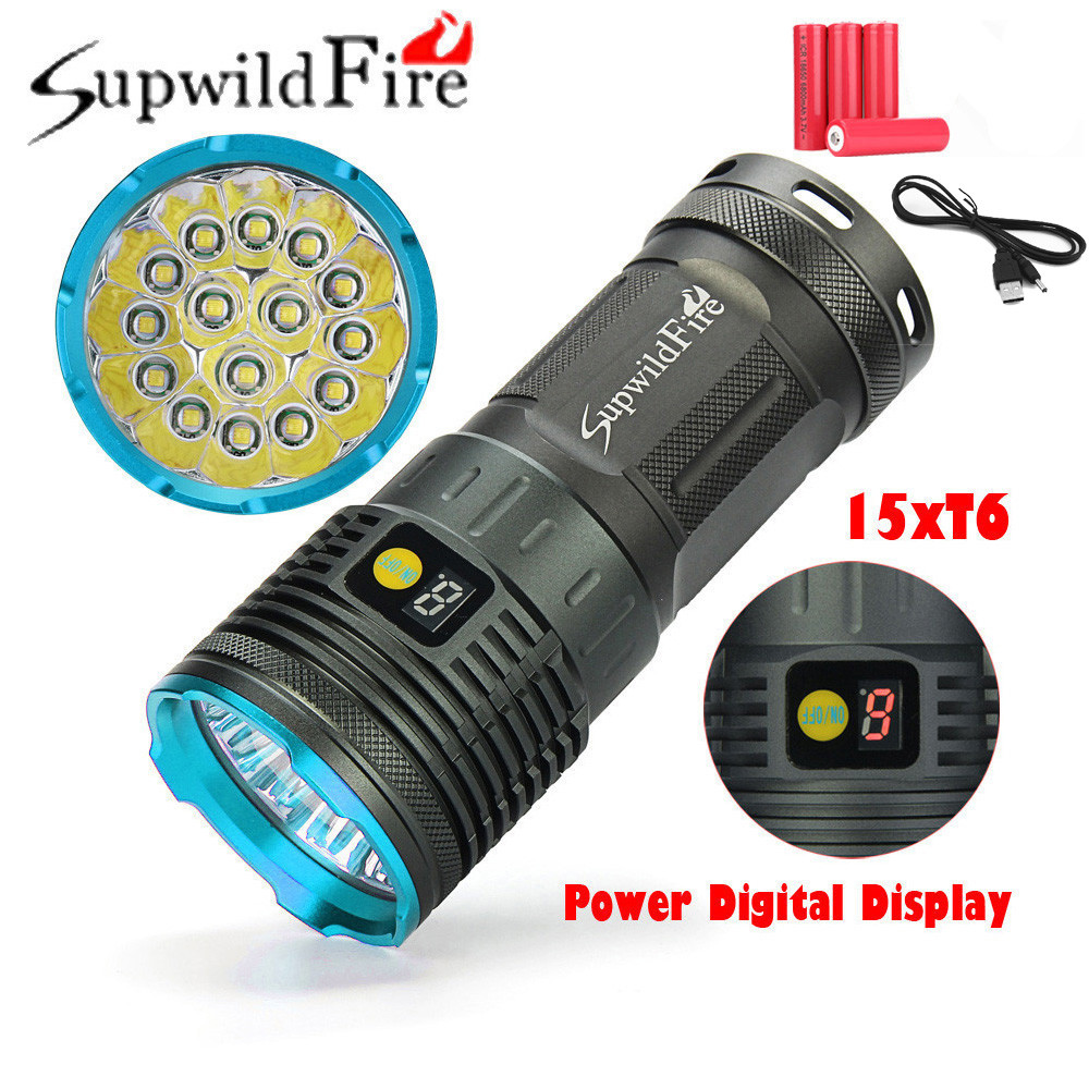 Supwildfire 50000LM 15 x XM-L T6 LED Power Digital Display Hunting Flashligt powerful led flashlight by 18650 battery #3o8 super bright bike bicycle light supwildfire 50000lm 15 x xm l t6 led power