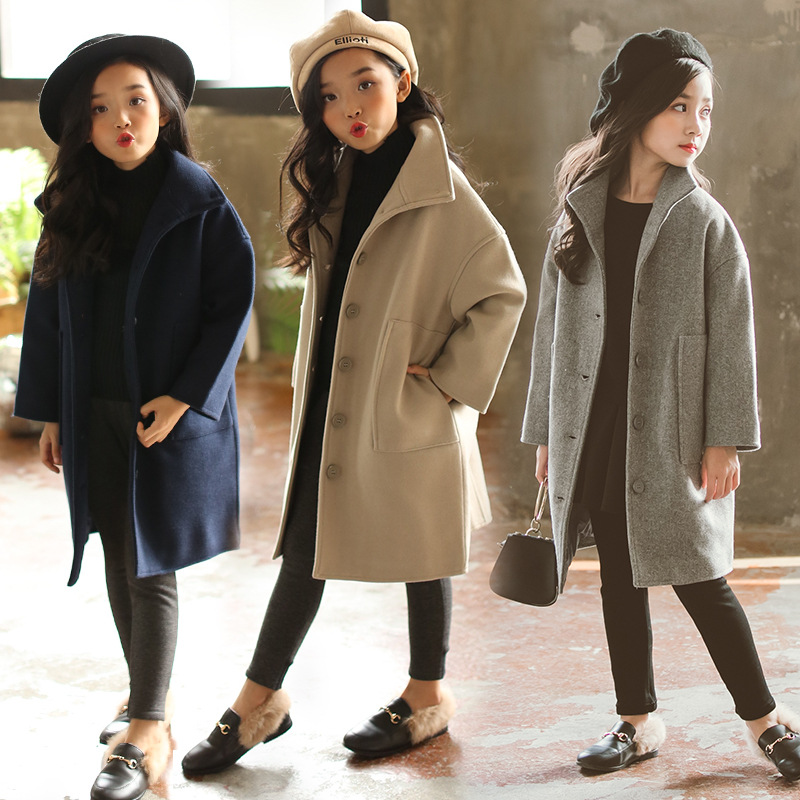 Girls coat 2018 new style autumn and winter girls fashion solid color long windbreaker children woolen coat coat autumn and winter coat for women a new autumn winter coat for women