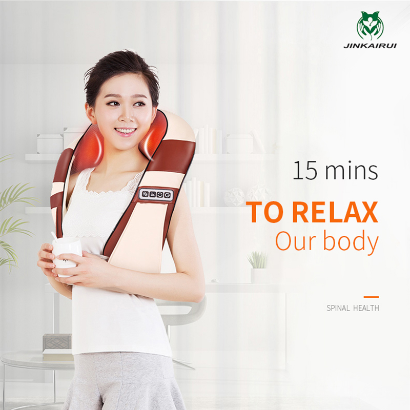JinKaiRui Rechargeable Wireless Shoulder Massager with Heat and Shiatsu Kneading Massage Neck Back Car Home Travel Use 2016 new arrival kneading massager with heat great at home spa machine for neck back shoulder
