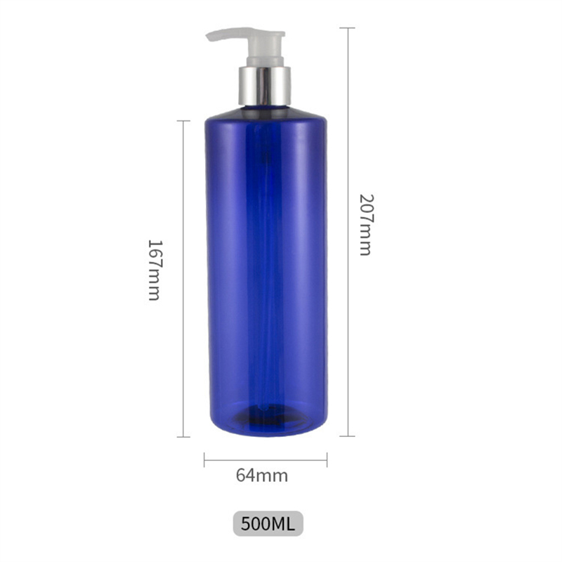 500ml flat shoulder anodized aluminum spiral pump head Shampoo shower gel empty bottle cosmetic lotion hand soap bottled BQ070 in Tumblers from Home Garden