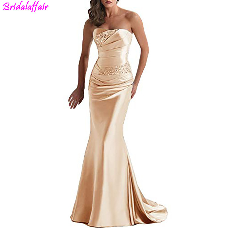 Women's Long Beaded Mermaid Champagne Evening Dress 2019 Elegant Bridesmaid Dress Formal Satin Long Prom Gown Robe De Soiree
