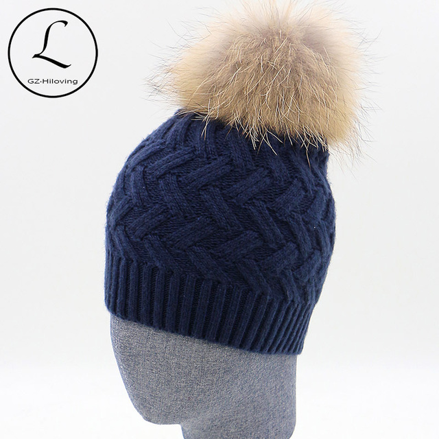 Cute Pink Hats Winter 100% Wool Caps Men Hats and Caps with Brown Pompom 2016 Beanie Brand Hat Touca Inverno Feminino16523B1