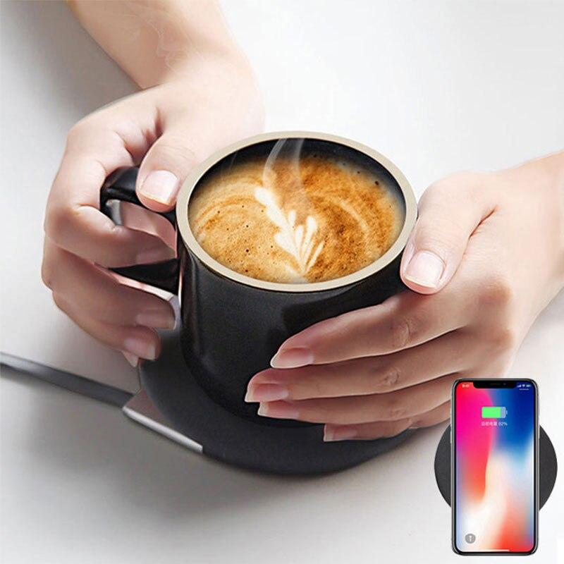Top Gift 55 Graden Intelligente Elektrische Verwarming Koffie Isolatie Mok Cup 10W Draadloze Oplader voor iPhone Samsung Keramiek cups-in Opladers voor mobiele telefoons van Mobiele telefoons & telecommunicatie op AliExpress - 11.11_Dubbel 11Vrijgezellendag 1