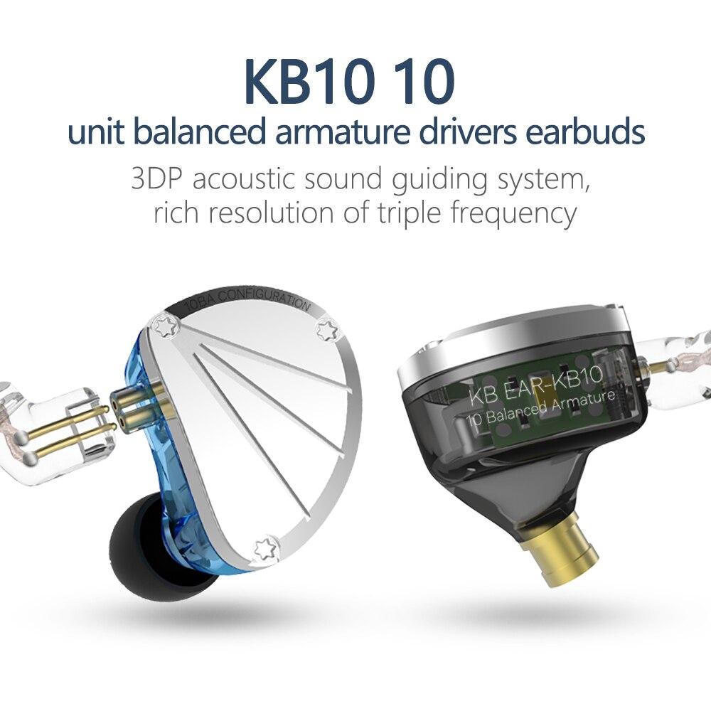 KBEAR KB10 ヘッドフォン 5 バランスドアーマチュアドライバーで耳イヤホンハイファイ低音モニターヘッドフォンイヤホンイヤフォン 2PIN ケーブル KZ AS10 AS16 ZS10  グループ上の 家電製品 からの 電話用イヤホン & ヘッドホン の中 3