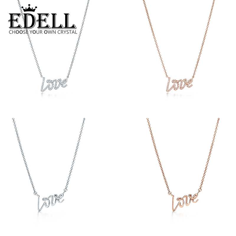 EDELL Fashion 925 Sterling Silver LOVE Pendant Necklace 42CM Pendants & Necklaces Women Sterl Silver-Jewelry Free Package Mail