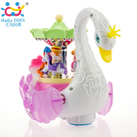 Kids Electronic Pet Sounding Flashing Musical Cartoon Electric Universal Swan Carousel Musical Box Educational Toys For