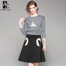 2eab6705f40013 autumn winter woman clothing set girl swan pattern gray blouse + a-line  above knee skirt fashion sweet cute two-piece outfit set
