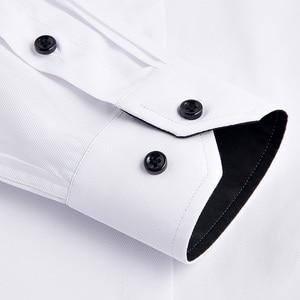 Image 5 - Plus rozmiar 8xl moda miękki skręcić w dół kołnierz czarny guzik długi rękaw twill stałe biznes mężczyźni ubranie koszule nie przednia kieszeń
