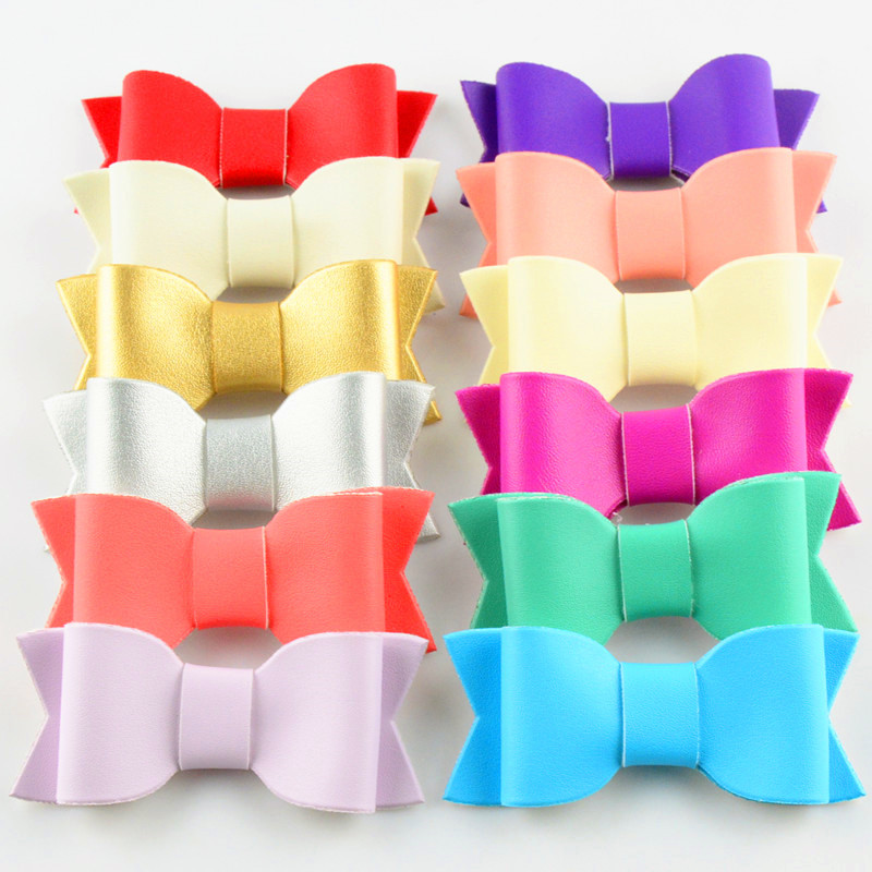 120pc lot 3 Wholesale Girls Leather Hair Bow DIY Leather Bows for Headband Hair clips flat