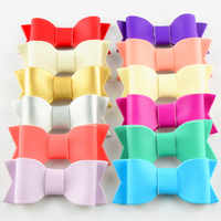 """120pc/lot 3"""" Wholesale Girls Leather Hair Bow,DIY Leather Bows for Headband Hair clips flat back 12 Color"""