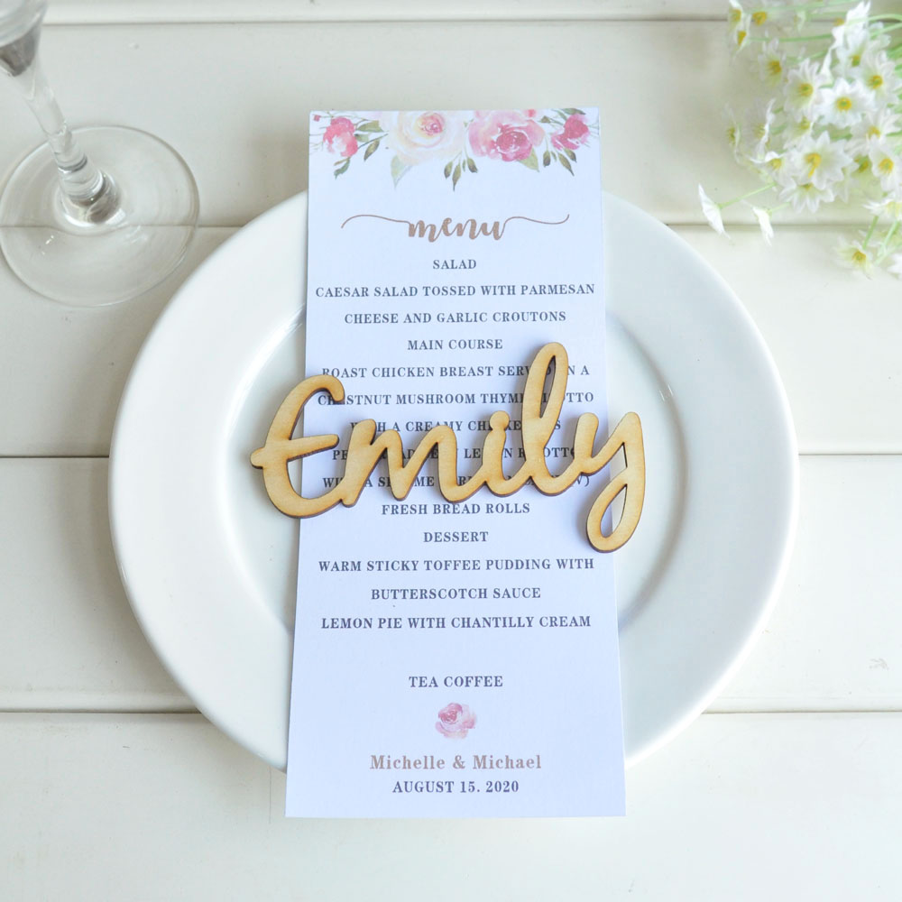 Wooden laser cut names Wedding place cards Name place settings Wooden wedding sign Laser cut wood Name tags for wedding Rustic wedding names