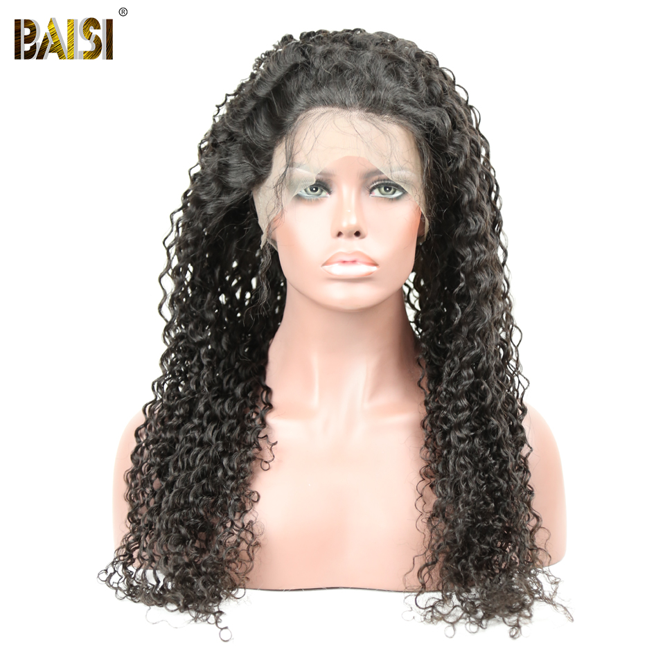 BAISI Hair Brazilian Hair Wigs Curly Full Lace Wigs 130 Density with Pre Plucked Natural Hairline