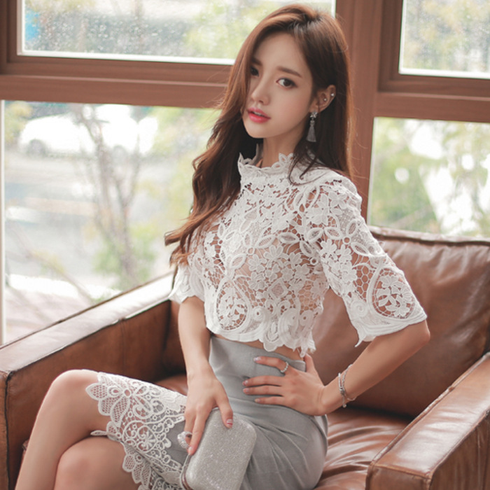 YaLiShi 2 Piece Set Women Suit 2019 Summer White Lace Half Sleeveless Blouse Shirt Tops and Pencil Skirt Crop Top and Skirt Set