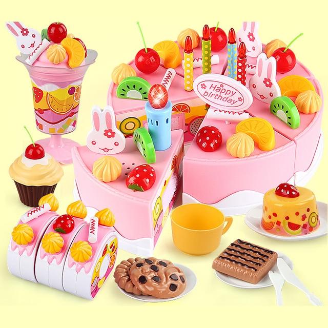 75pcs Diy Pretend Play Kitchen Toys Plastic Food Cutting Birthday Cake Tea Set Toy
