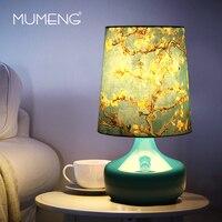 Mumeng цветок роспись настольные лампы E27 печати абажур синий Стекло лампы ПВХ Европа оценить CE два Средства ухода за кожей стоп плоский разъем