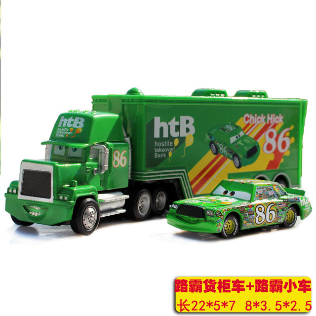McQueen 2pcs/set Cars CHICK HICK #86 & MACK Superliner Truck with Racing Car  Diecast Alloy Metal Truck combination 1:43  Toy